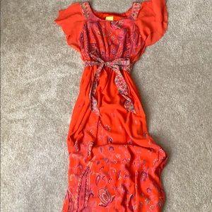 Maxi orange dress with design